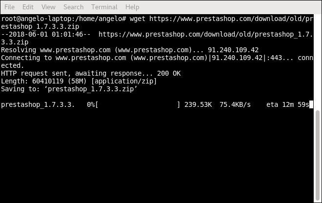 Downloading prestashop