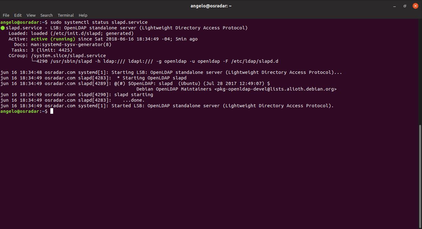 3.- Checking status openLDAP