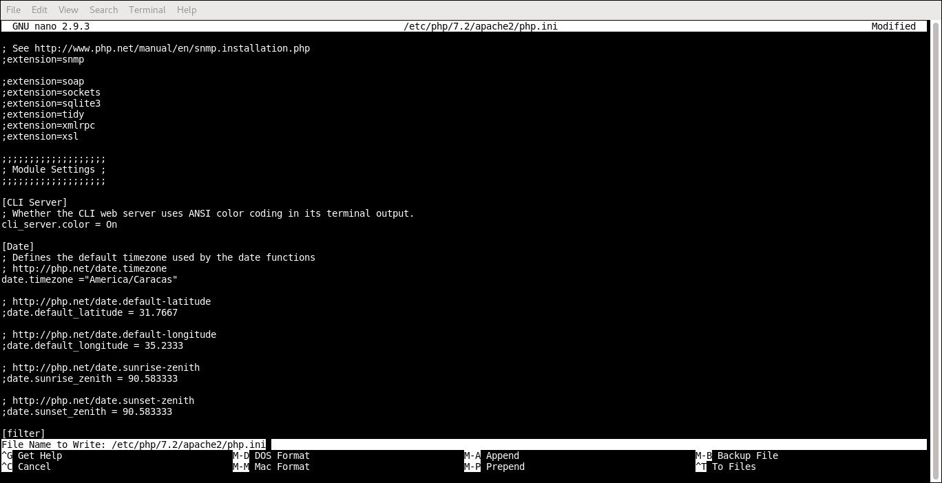 5.- Editing php.ini file