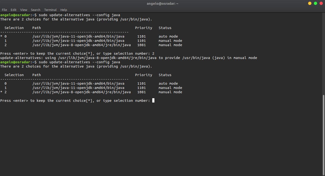 5.- Setting java 8 to default