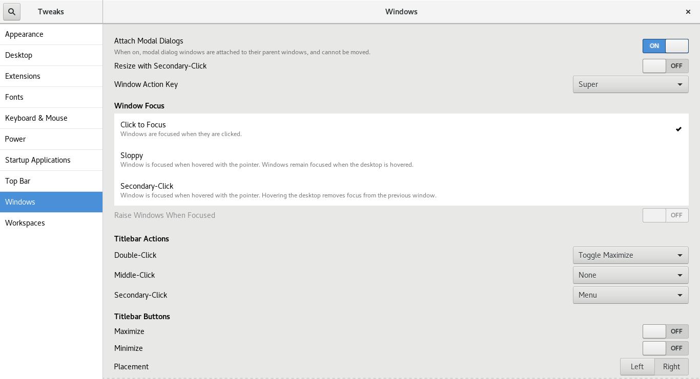 windows section on Gnome-Tweak-Tool