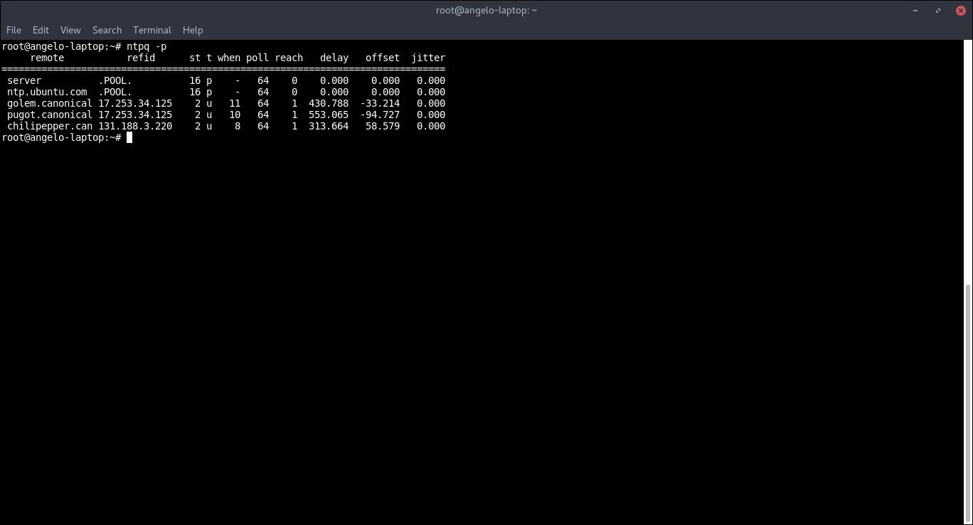 9.- NTP server running