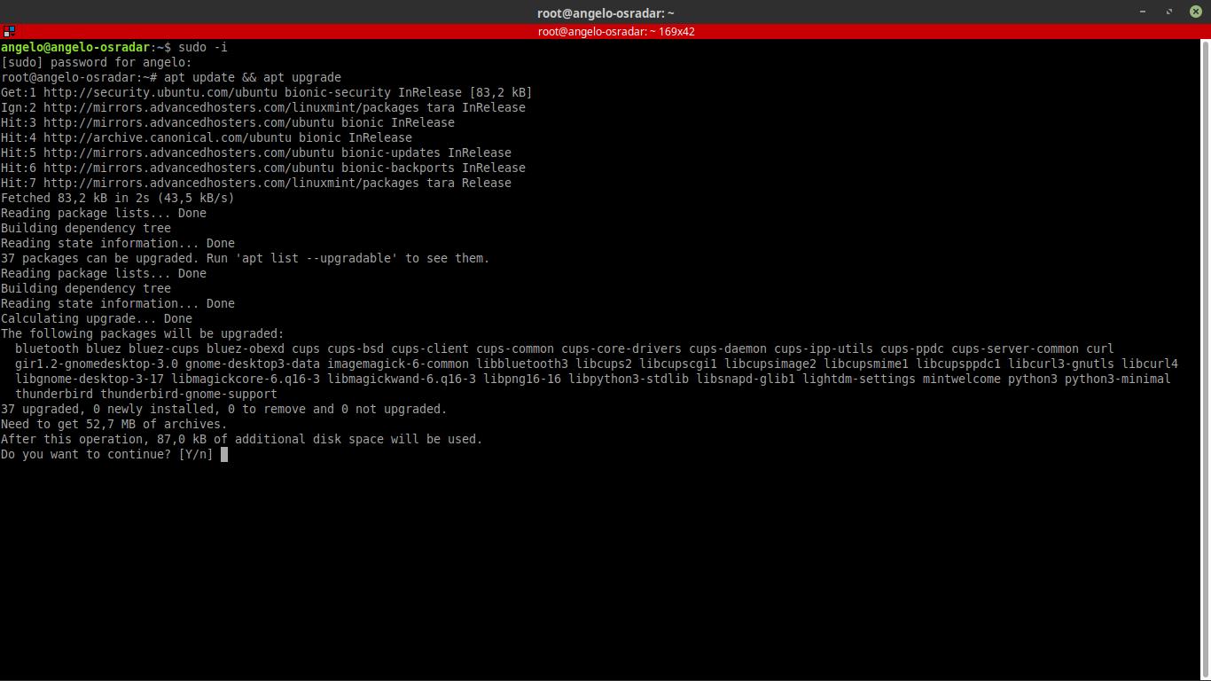 1.- Logging as root user
