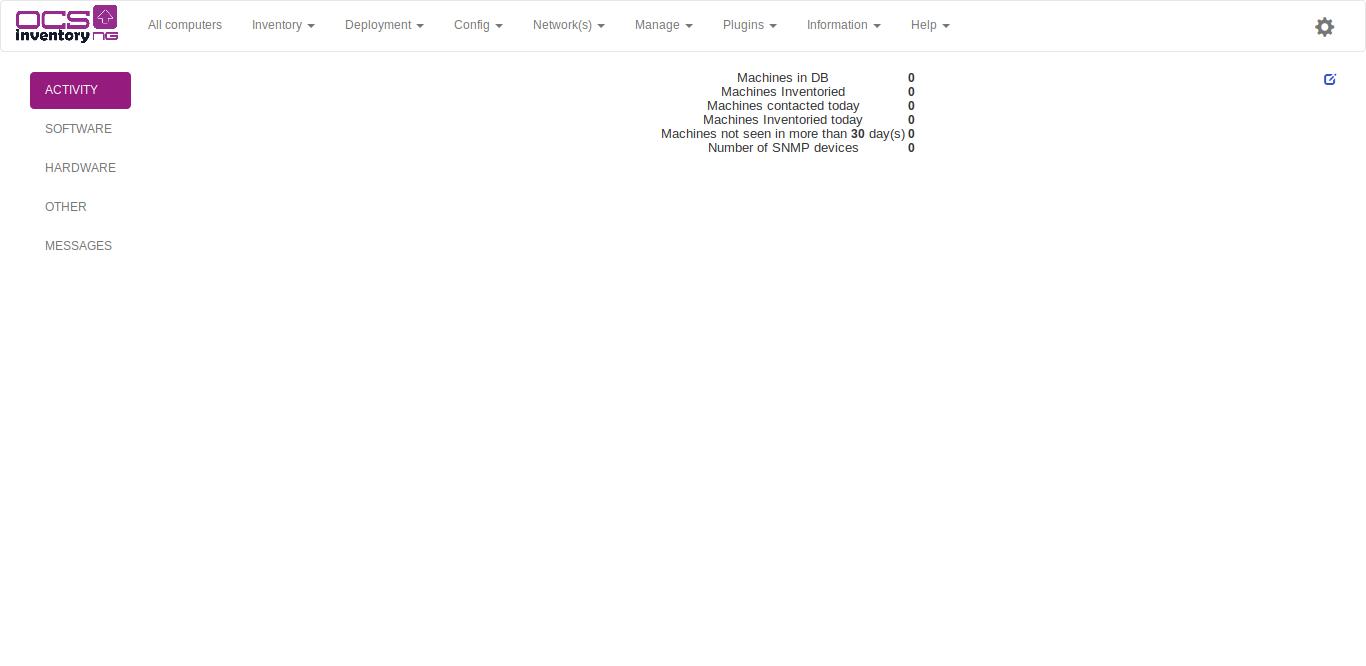 19.- Dashboard of OCSInventory
