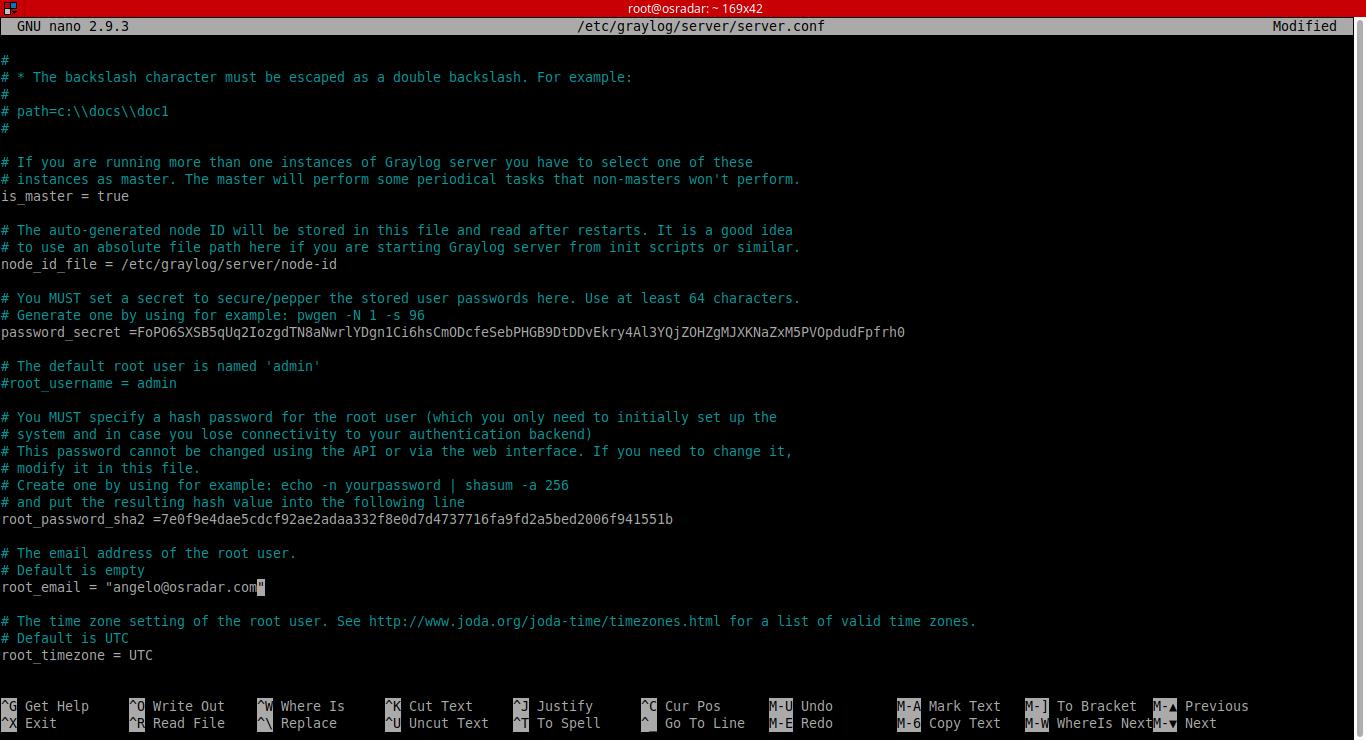 18.- Editing graylog server conf file