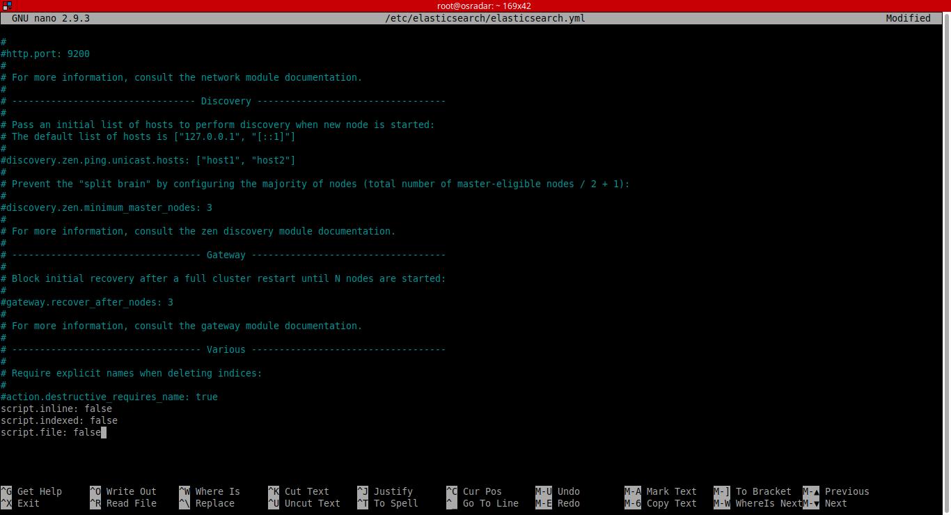8.- Editing elasticsearch config file