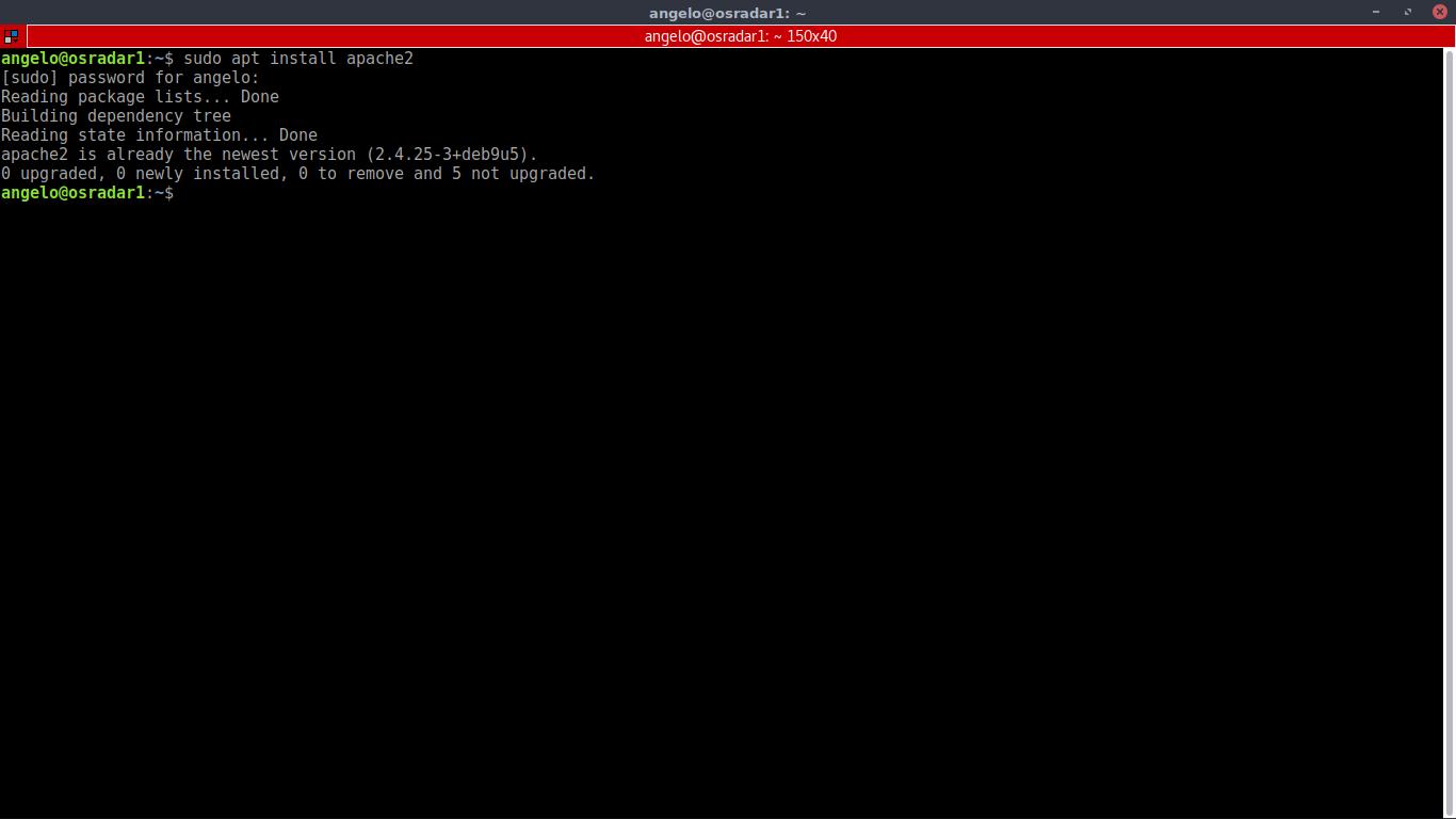 1.- Installing apache2 web server