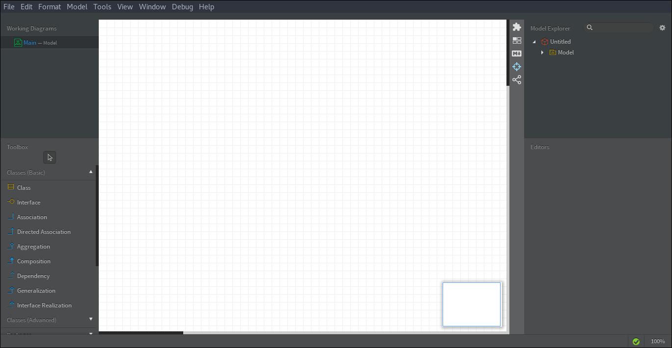10.- Main screen of StartUML