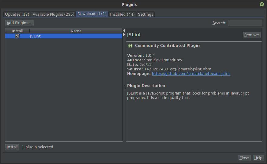 11.- Installing a downloaded Netbeans plugin