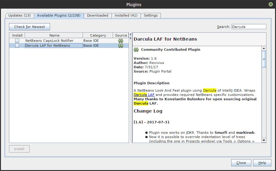 2.- Plugins Windows of Netbeans