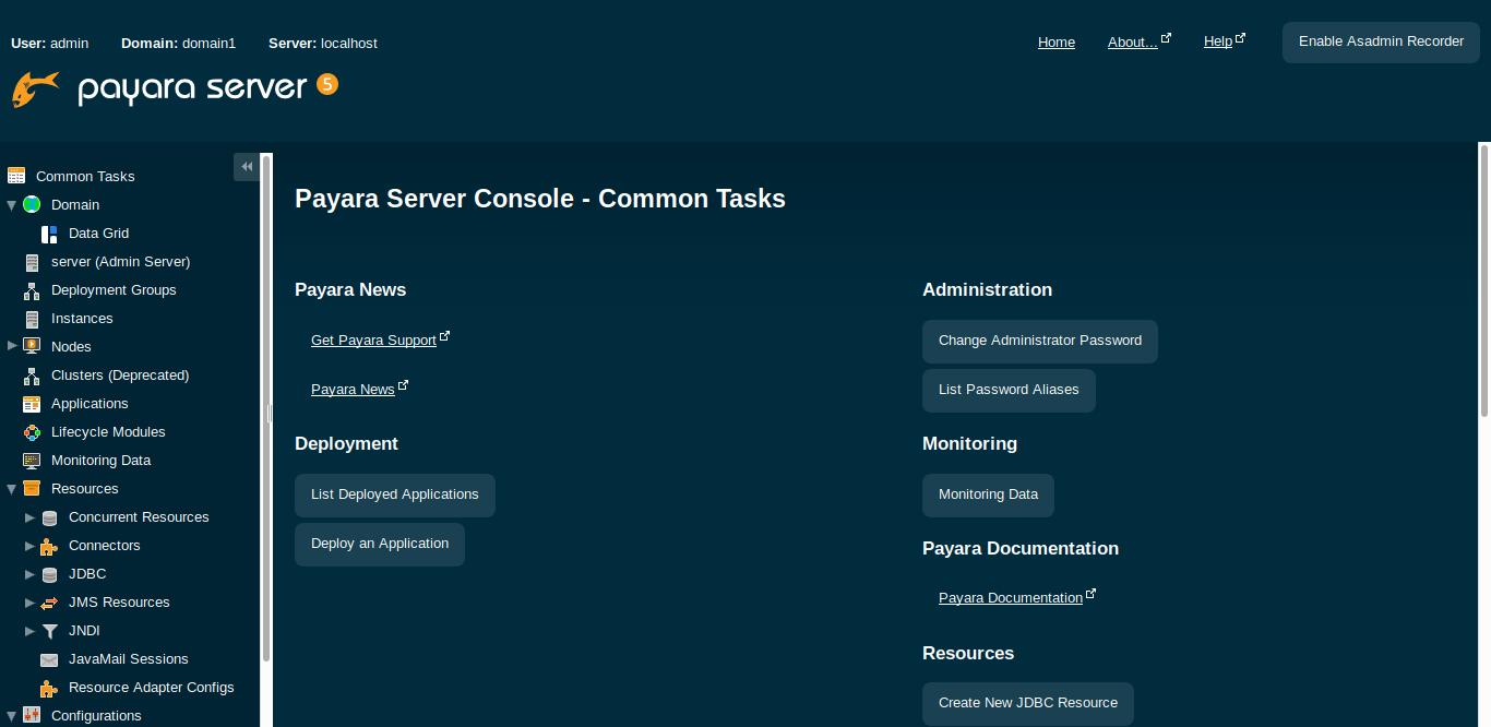 6.- Principal screen for Payara Server