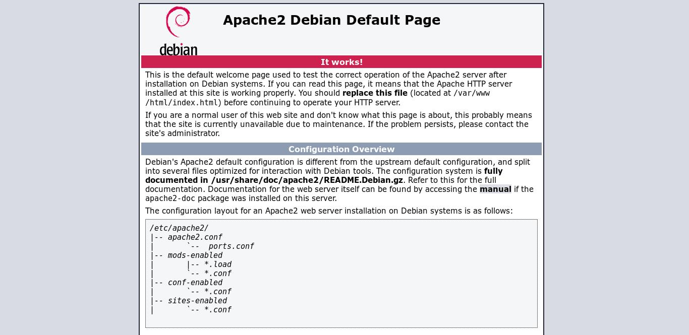 6.- Apache2 Debian default page