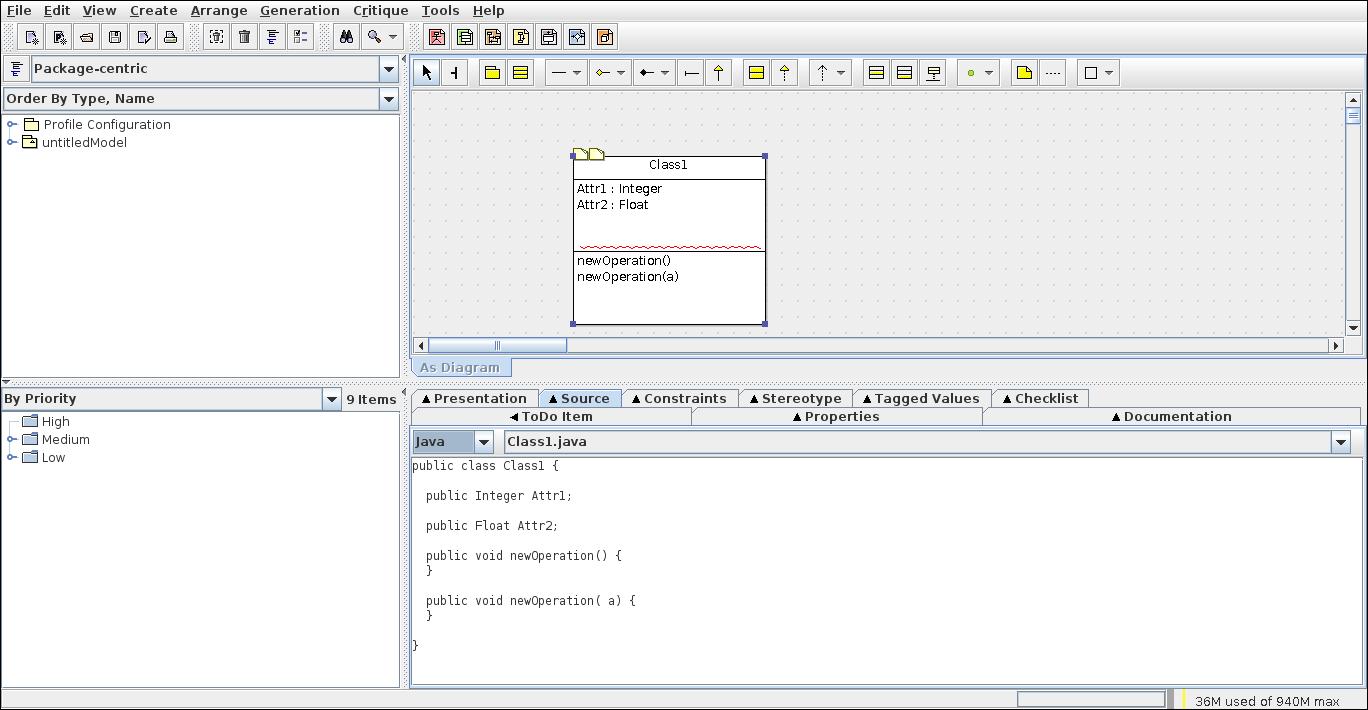 7.- Showing code generation on ArgoUML