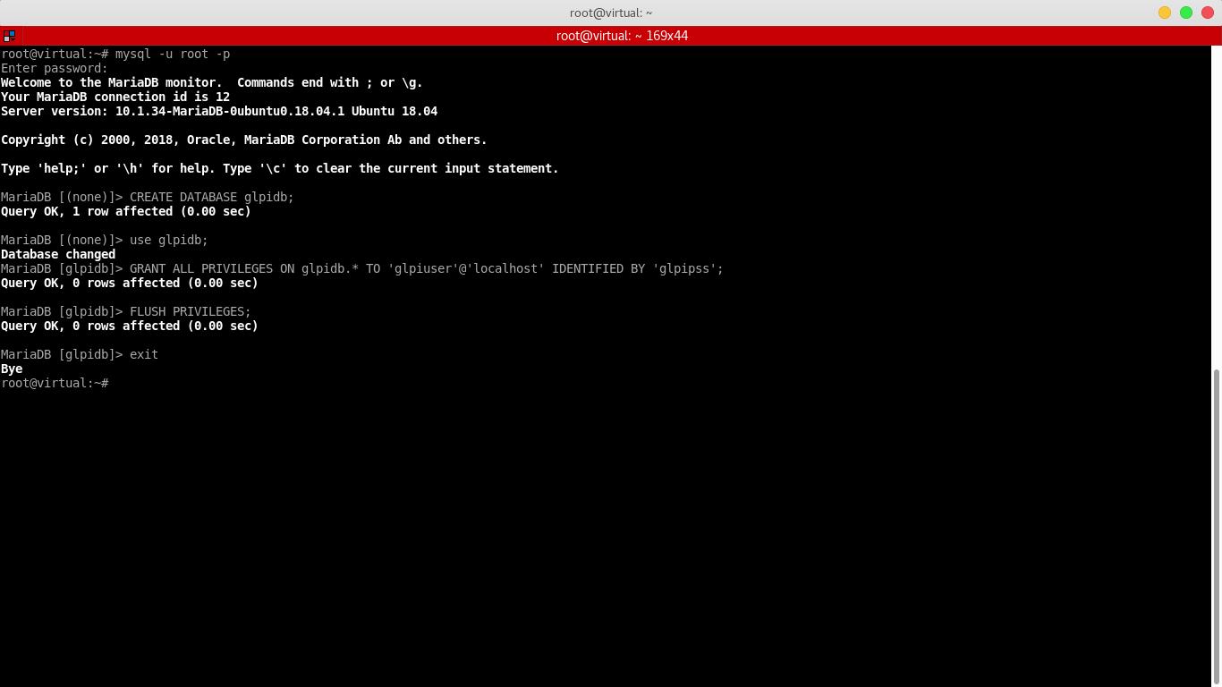 8.- Creating a database for glpi
