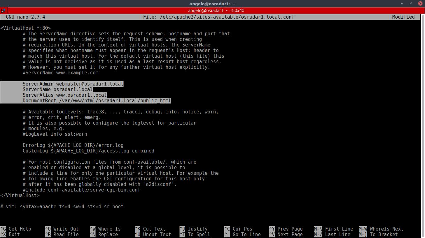 8.- Editing Virtual host configuration file