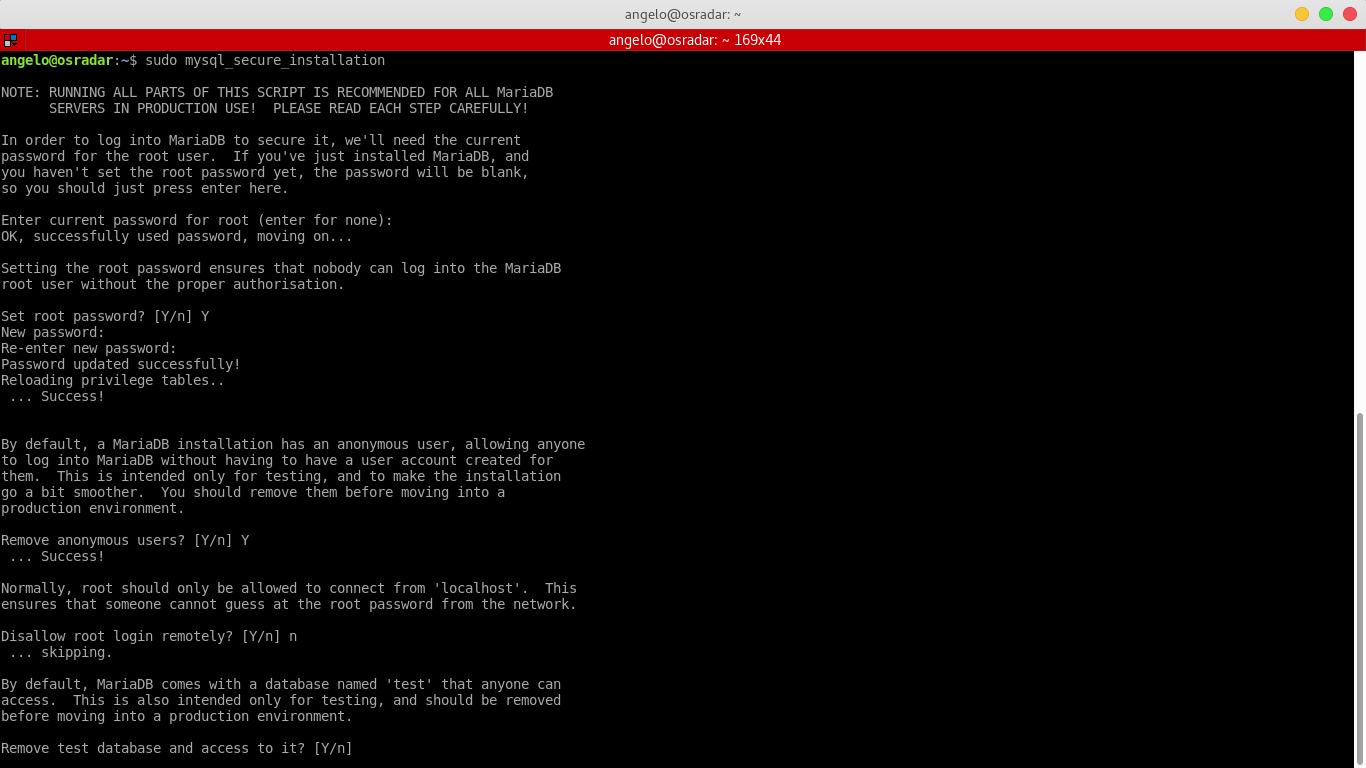 9.- Running the configuration script for MariaDB