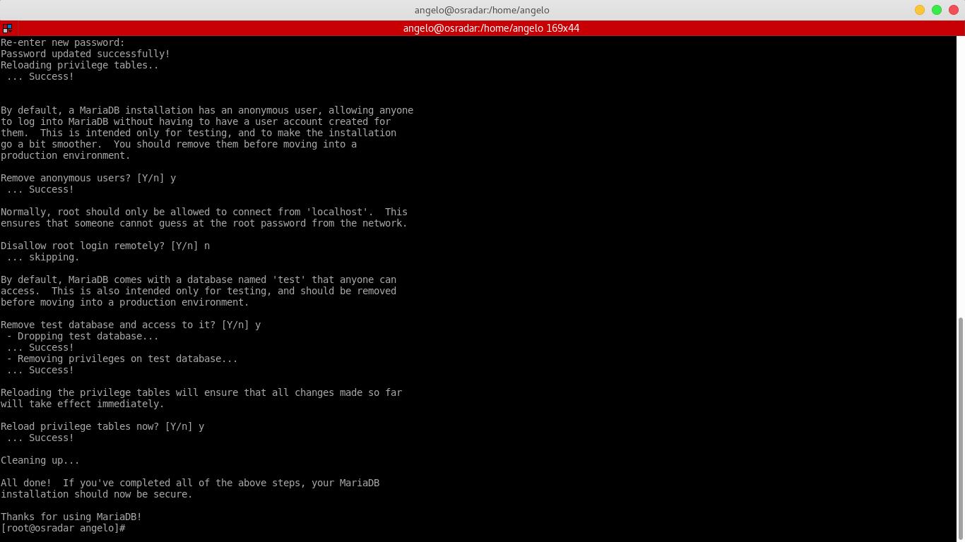 10.- Configuring MariaDB server thanks to mysql_secure_installation script