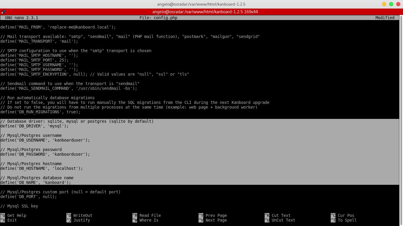 11.- Setting parameters for kanboard database