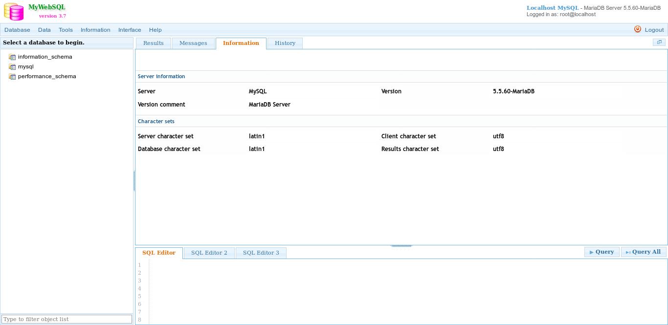 13.- MyWebSQL main page