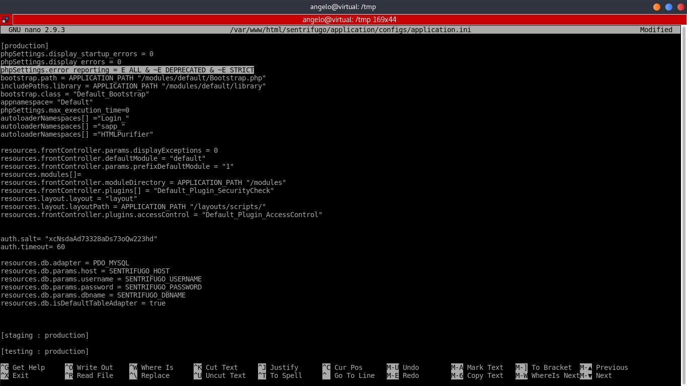 14.- Editing Sentrifugo configuration file