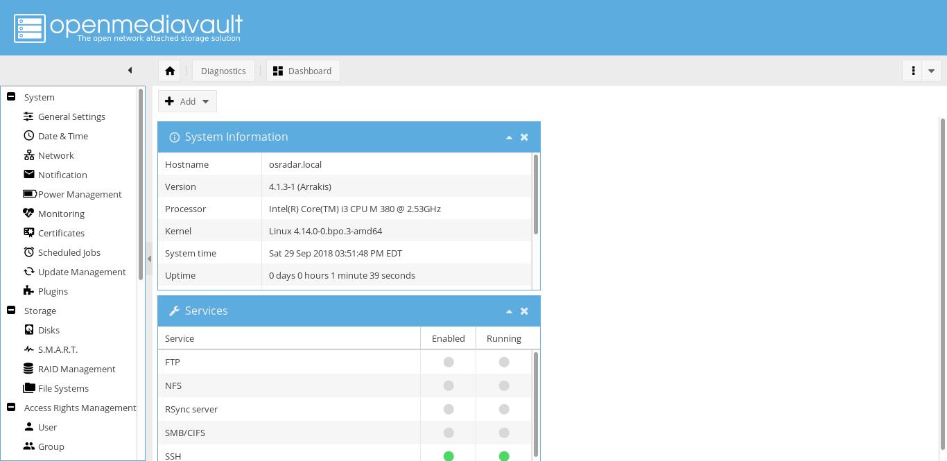 18.- OpenMediaVault web interface