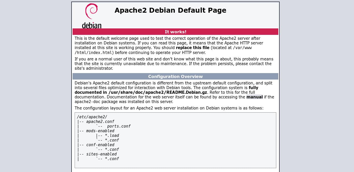 4.- Apache2 web default page