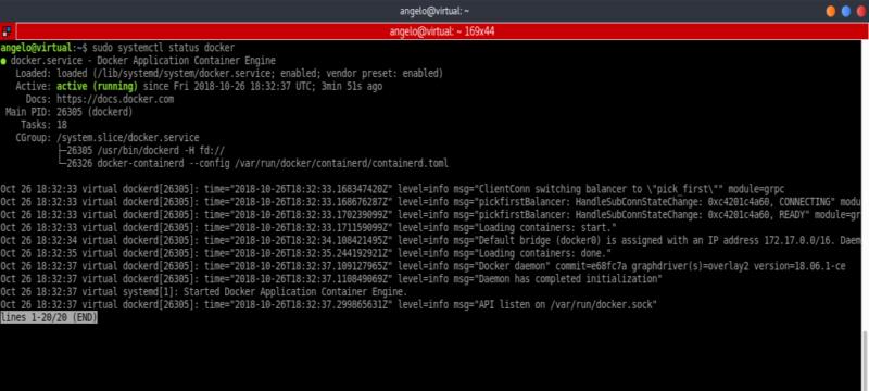 7.- Docker service status