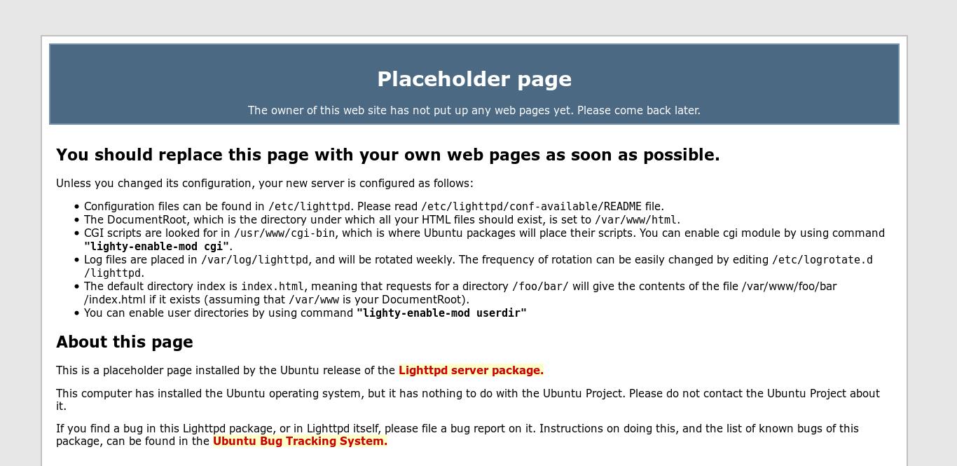 7.- lighttpd default page