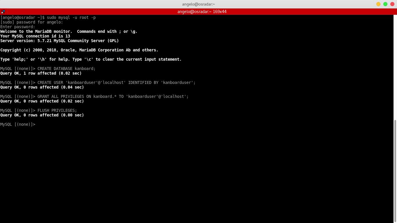 7.- Creating the kanboard database