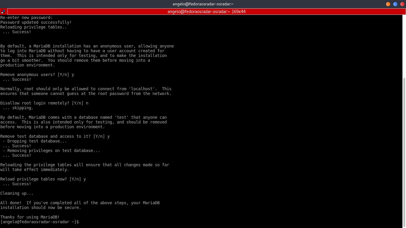 10.- Configuring MariaDB using mysql_secure_installation
