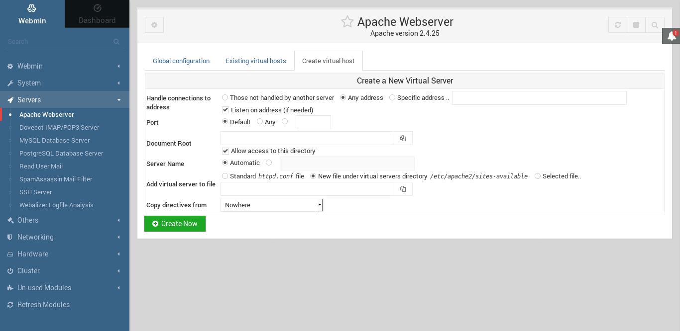 10.- Web Server options on Webmin