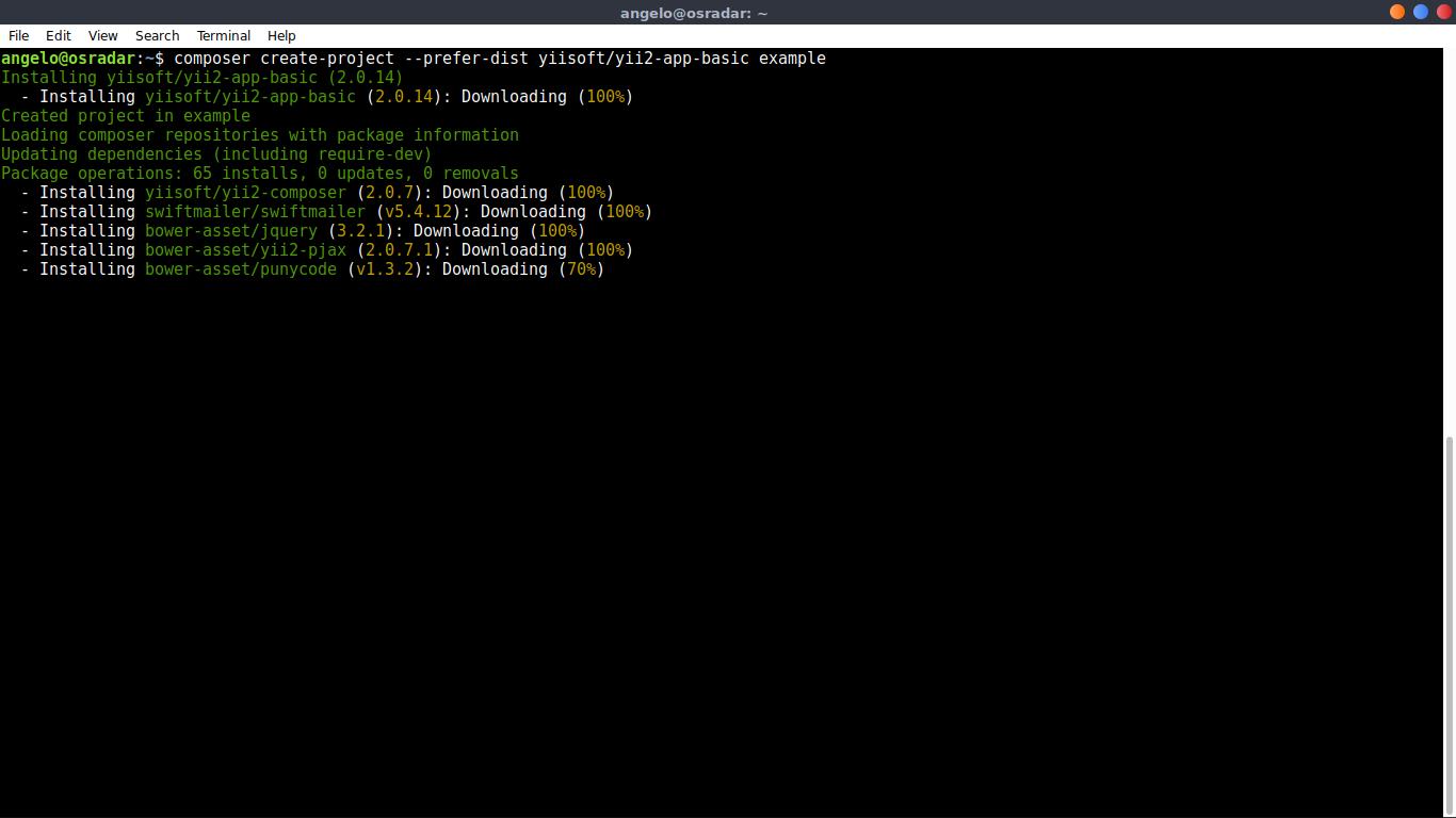 3.- Install Yii PHP Framework