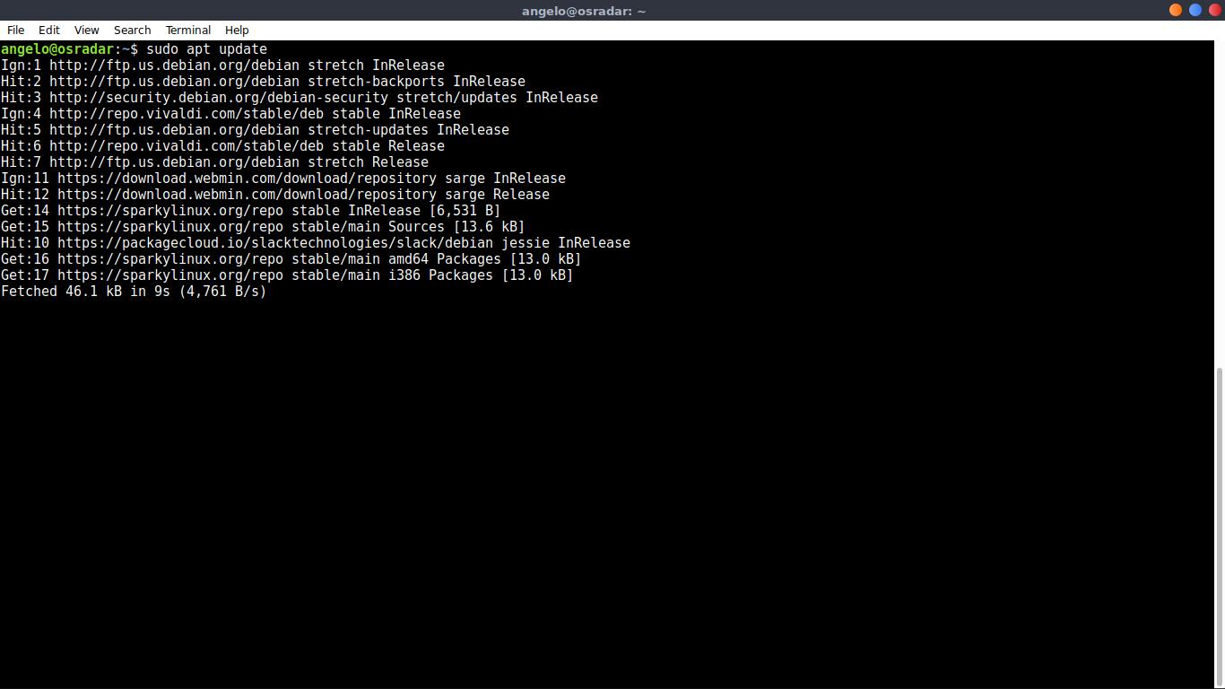 3.- Running apt update command