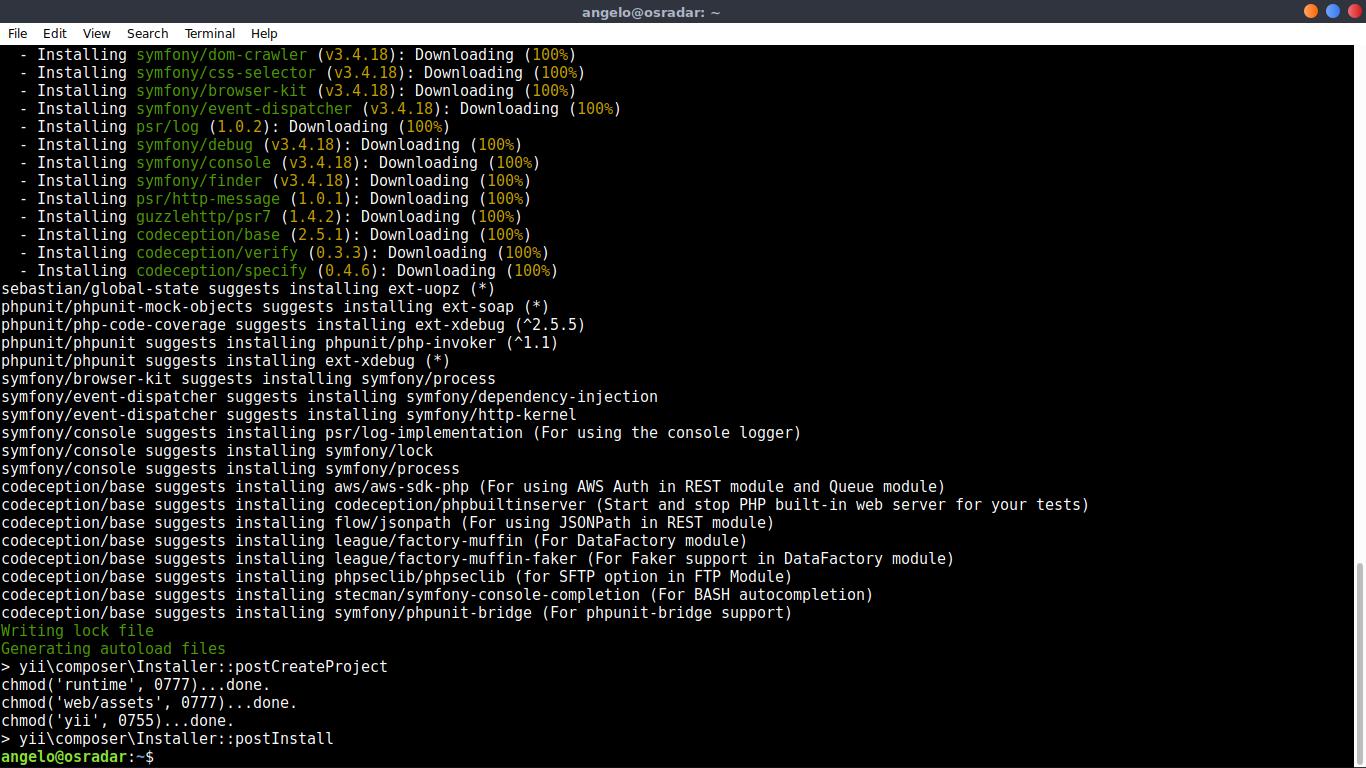 4.- Installing Yii PHP Framework