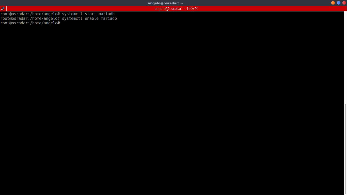 systemctl start mariadb systemctl enable mariadb