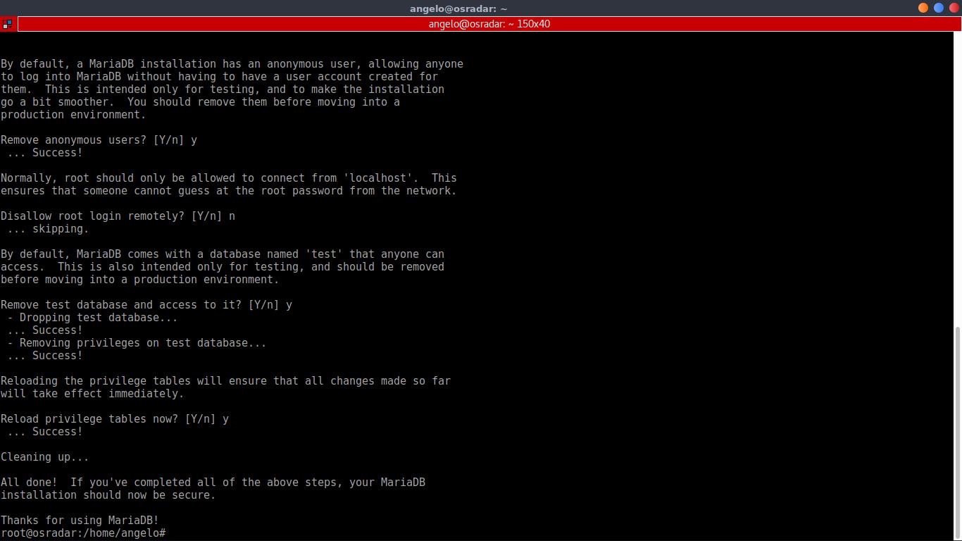 6.- Using the mysql_secure_installtioin script