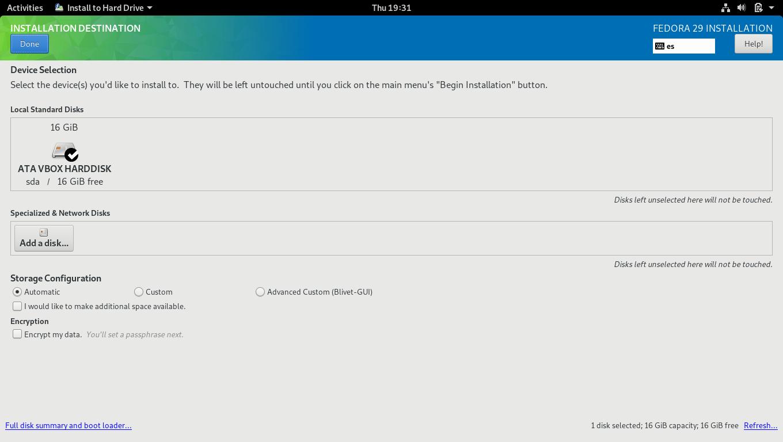 6.- Installing Fedora 29