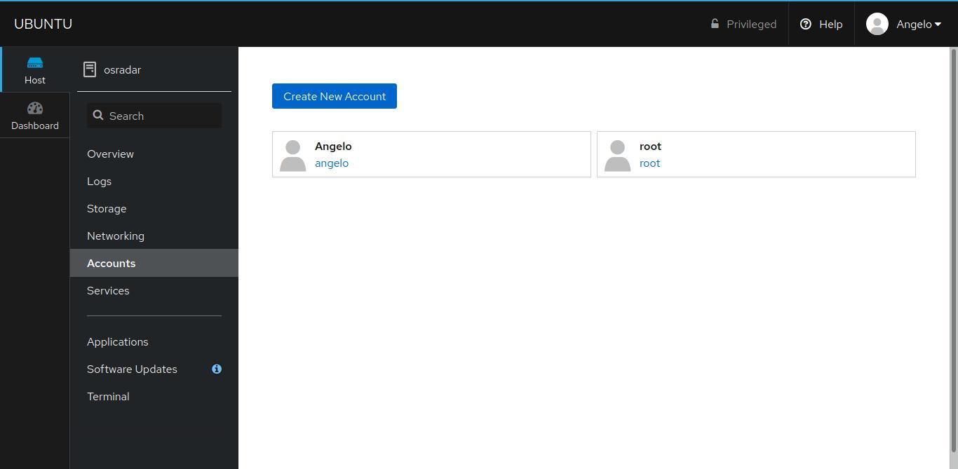 8.- User accounts screen