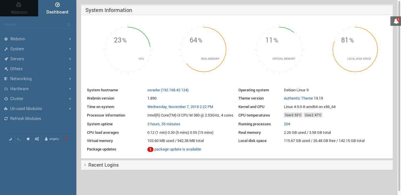 9.- Webmin dashboard