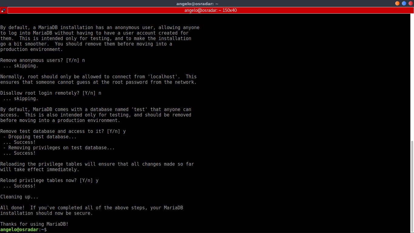 9.- Using mysql_secure_installation to secure the MariaDB installation