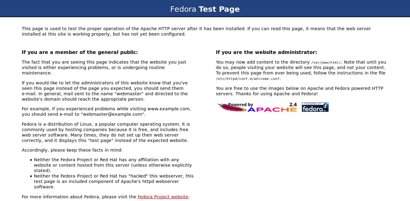 Apache default page on Fedora 30