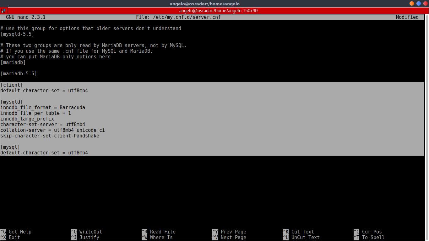 11.- Editing a MariaDB configuration file