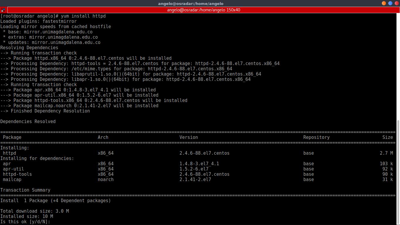 2.- Install apache web server from CLI