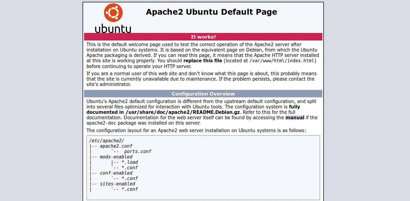 3.- Apache default page