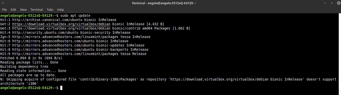 4.- Updating APT cache