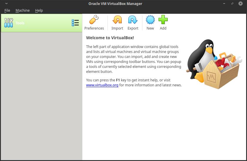 6.- Virtualbox 6 main screen