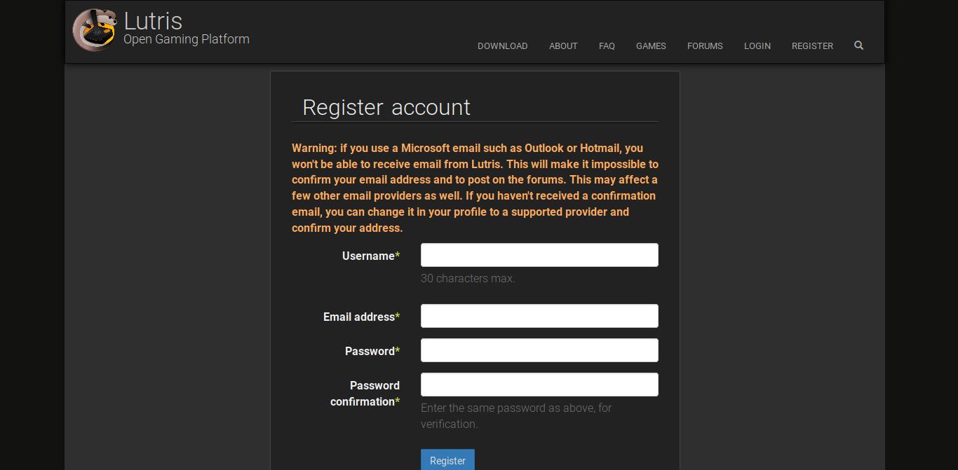 7.- Lutris registration