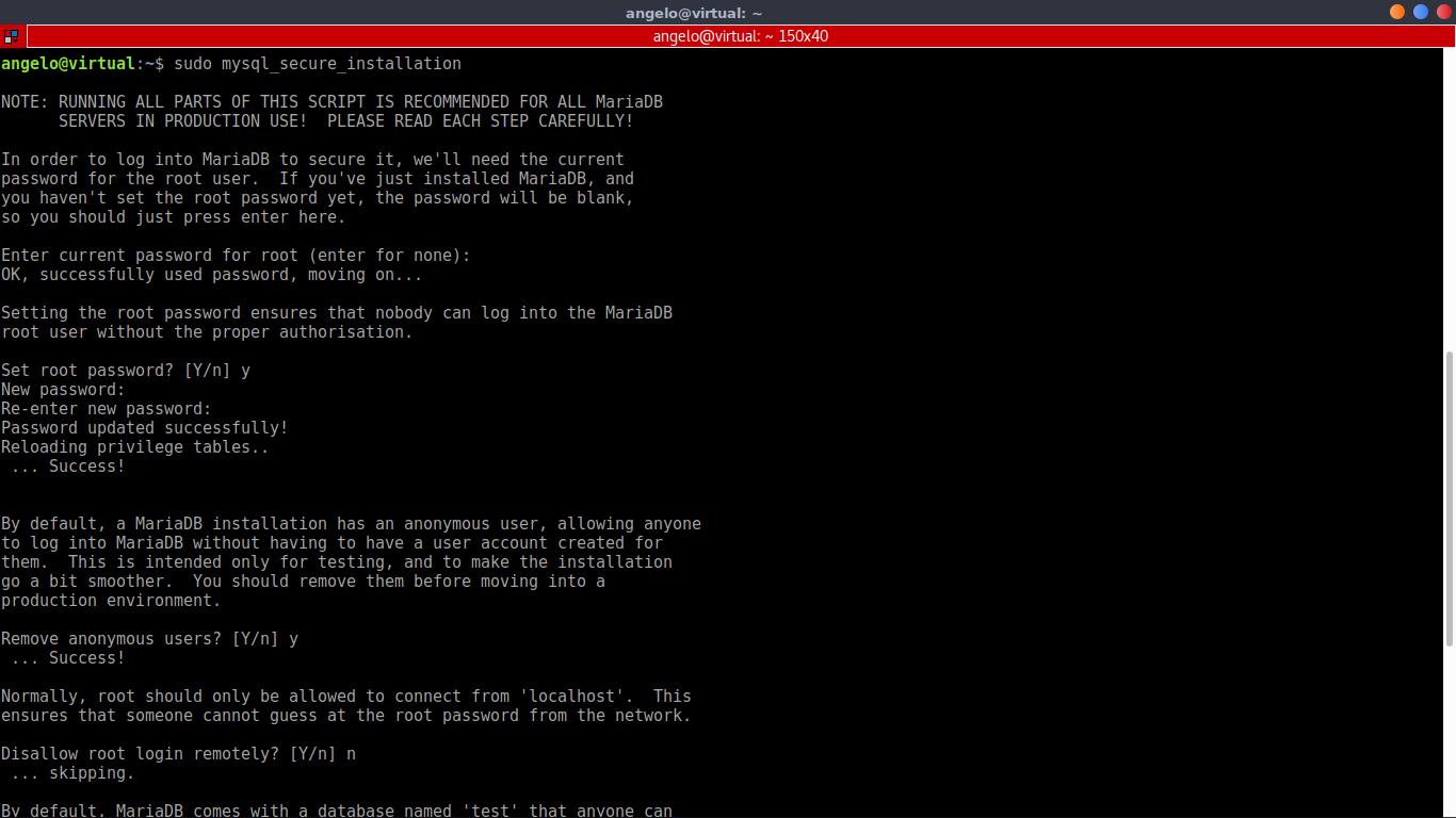 8.- Using mysql_scure_installation script to configure MariaDB