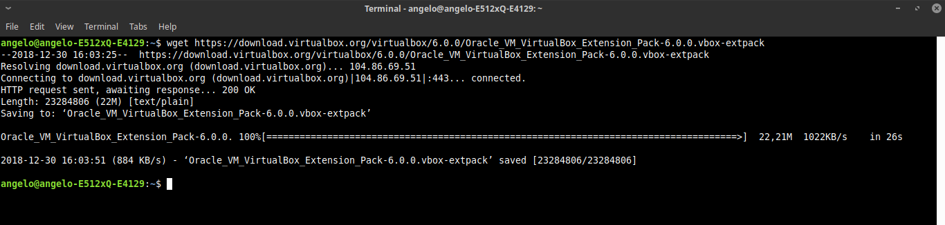 8.- Download extension pack for virtualbox 6