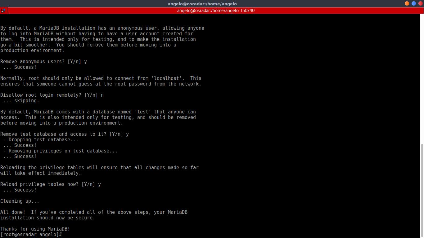 9.- using mysql_secure_installation script